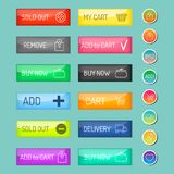 Colorful website online shop web buttons design vector illustration glossy graphic label internet confirm template. Banner. Rounded blank menu reflection Royalty Free Stock Images
