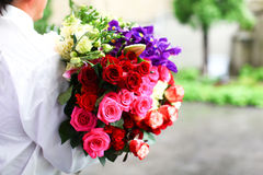 Colorful wedding bouquet of roses Stock Photography