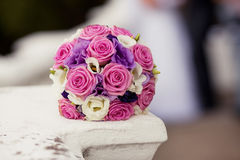 Colorful wedding bouquet with roses and eustomas. Pastel wedding bouquet with roses and eustomas Stock Images