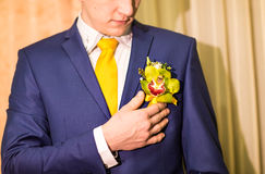 Colorful wedding boutonniere on suit of groom Stock Photos