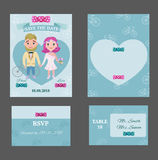 Colorful Wedding Invitations Postcards Set Royalty Free Stock Photo