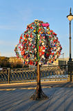 Colorful wedding padlocks on a metal tree Royalty Free Stock Photo