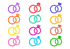 Colorful wedding rings icons Stock Images