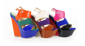 Colorful wedges shoes Stock Images