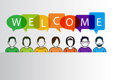 Colorful welcome background with simplified cartoon characters Stock Image