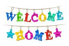 Colorful Welcome Home banner with tags Royalty Free Stock Image