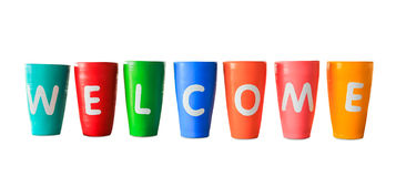 Colorful welcome jars isolated Royalty Free Stock Photography