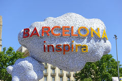 Colorful Welcome sign in Barcelona, Spain Stock Images