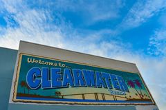 Colorful Welcome to Clearwater mural on lightblue cloudy sky background. stock photography