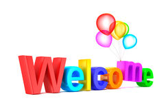 Colorful welcome word with balloons on white background. 3d image Royalty Free Stock Photography