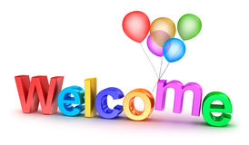 Colorful welcome word with balloons on white background vector illustration