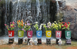 Welcome guest. Colorful of the Welcome wording for reception outdoor Royalty Free Stock Image