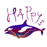 Colorful whale with lettering - Happy Day. Killer whale or grampus batik imitation vector hand drawn illustration. Royalty Free Stock Photo