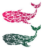 Colorful Whales Stock Images
