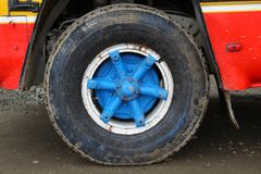Colorful wheel in Colombia. Colorful  bus wheel in Colombia stock photos