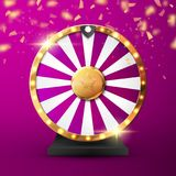 Colorful fortune wheel with confetti and lights. Vector illustration. Colorful wheel of luck or fortune with confetti and lights. Vector illustration Royalty Free Stock Images