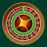 Colorful wheel of luck or fortune on green background. Vector illustration casino roulette, gambling concept, play for luck of fortune, betting for chance to Royalty Free Stock Images