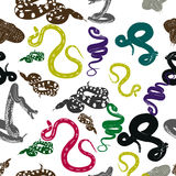 Colorful whimsical pattern with funny snakes. Vector seamless background royalty free illustration
