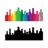 Colorful whine and whiskey bottle icon Royalty Free Stock Photos