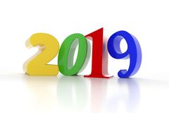 Colorful 2019 on a white background. New Year concept, 3d rendering Royalty Free Stock Photo