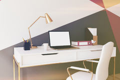 Colorful white home office closeup toned