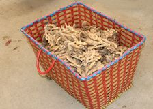 Basket with ginger roots for medical purposes, China  Stock Photos