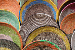 Colorful wicker baskets Stock Images