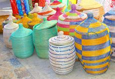 Colorful baskets, Majorca market, Spain Royalty Free Stock Images
