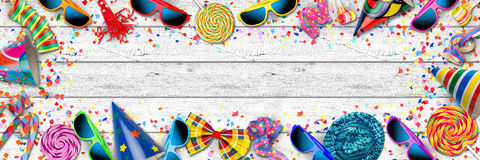 colorful wide panorama party carnival birthday celebration background stock illustration