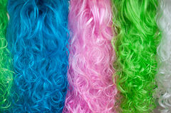 Colorful Wigs Abstract Background Stock Photo