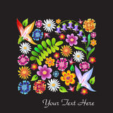 Colorful wild flowers drawing Royalty Free Stock Photo