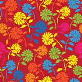 Colorful wild flowers seamless pattern Royalty Free Stock Photography
