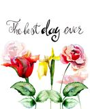 Colorful wild flowers with title the best day ever. Watercolor illustration Stock Photography