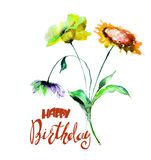 Colorful wild flowers with title Happy Birthday. Watercolor illustration Royalty Free Stock Photography