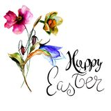 Colorful wild flowers with title Happy Easter. Watercolor illustration Royalty Free Stock Images
