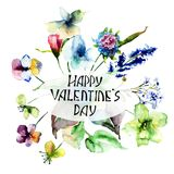 Colorful wild flowers with title Happy Valentine's day. Colorful wild flowers with title Happy Valentine's day, watercolor illustration Royalty Free Stock Photography