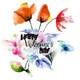 Colorful wild flowers with title Happy Valentine's day. Colorful wild flowers with title Happy Valentine's day, watercolor illustration Royalty Free Stock Photos