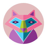 colorful wild fox flat desing vector icon Royalty Free Stock Photo