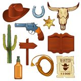 Colorful wild west elements set. Bull skull, cowboy hat, lasso, bottle of whiskey and other. Colorful wild west elements set. Bull skull, cowboy hat, lasso Stock Image