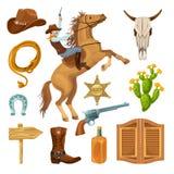 Colorful Wild West Elements Set Stock Image