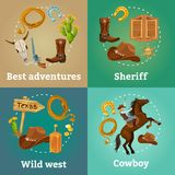Colorful Wild West Square Composition Royalty Free Stock Photography