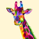 Colorful wildlife mammal fauna giraffe. 