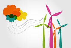 Colorful wind mills and clouds. Global transparent silhouettes colorful wind turbines and clouds illustration. Vector layered for easy editing Stock Photos