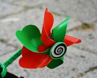 Colorful wind toy for bicycles. An  playful and colorful wind toy for bicycles, isolated Royalty Free Stock Image