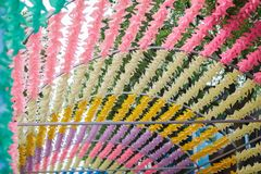 Colorful Wind up toy summer season windy. Decoration in the park stock photo