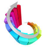 Colorful winding bar chart with arrow. Image with hi-res rendered artwork that could be used for any graphic design Royalty Free Stock Photo