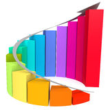Colorful winding bar chart with white arrow Stock Photography
