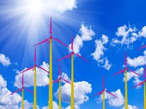 Colorful windmill against a bright sunny sky Royalty Free Stock Photography