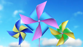 Colorful  windmill toys Stock Images