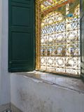 Colorful window at Bahia Palace, Marrakech Royalty Free Stock Photography